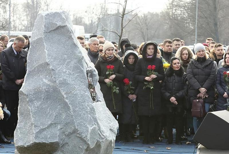 В Борисполе заложили памятный знак погибшим в авиакатастрофе в Иране