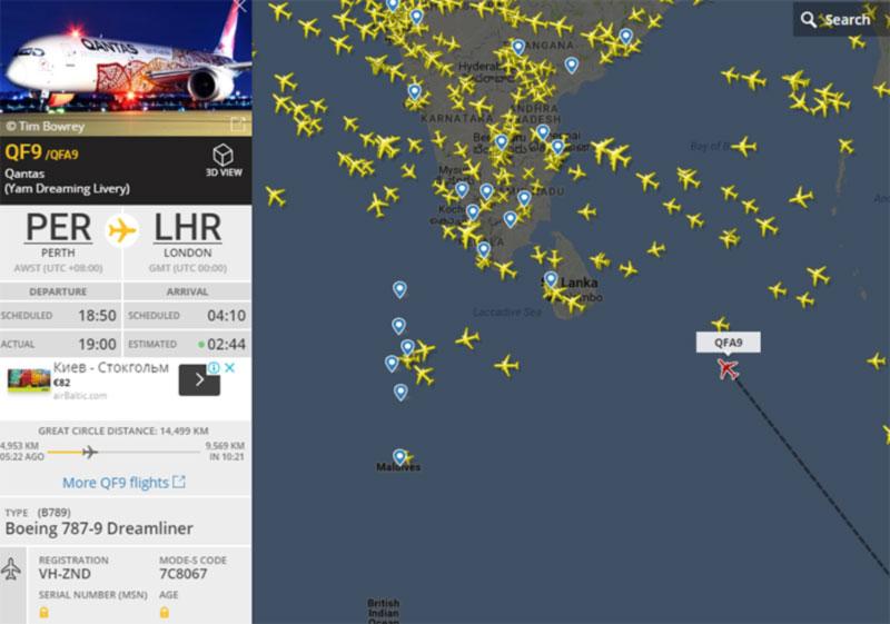 Qantas совершила первый в истории беспересадочный авиарейс из Австралии в Европу