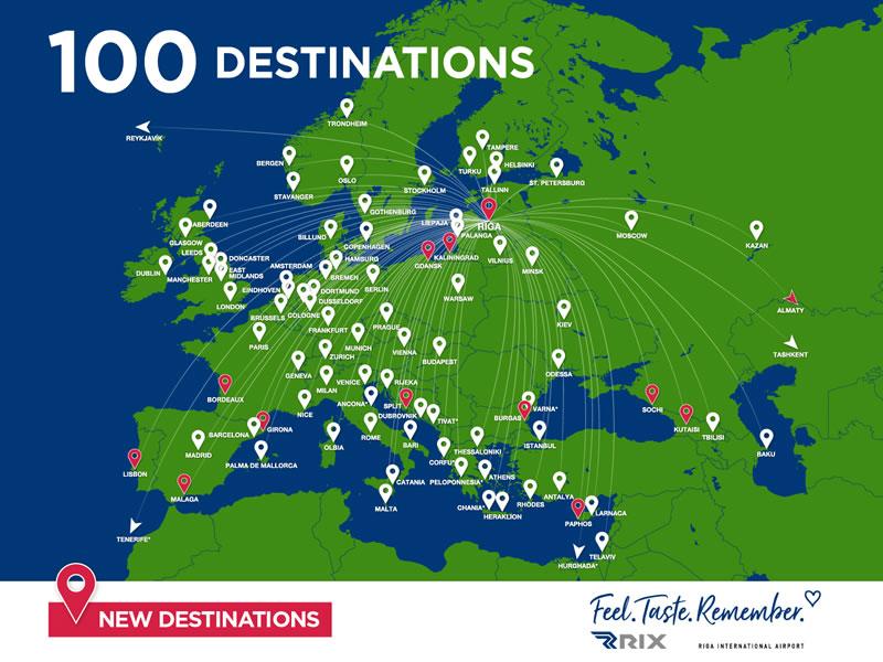 В летний сезон прямыми рейсами из аэропорта «Рига» можно будет отправиться в 100 пунктов назначения