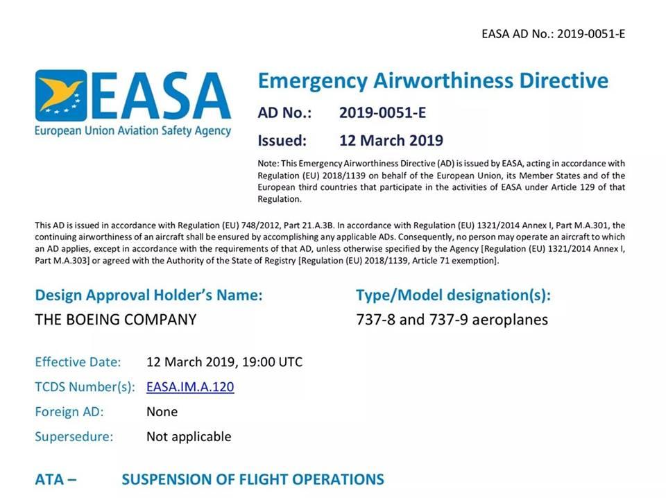 EASA временно запретило эксплуатацию Boeing 737 Max 8 и 9