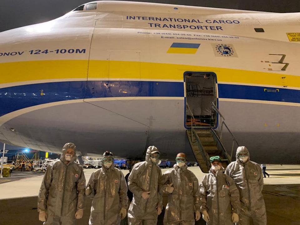 Ан-124-100 Руслан успешно выполнил первый рейс по доставке медицинского груза из Китая для Чехии