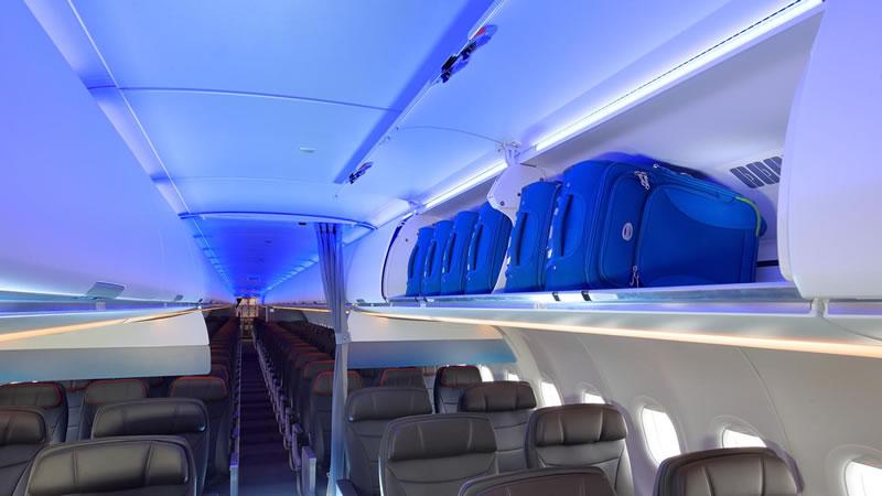 Началась эксплуатация A321neo с новой кабиной и большими багажными полками