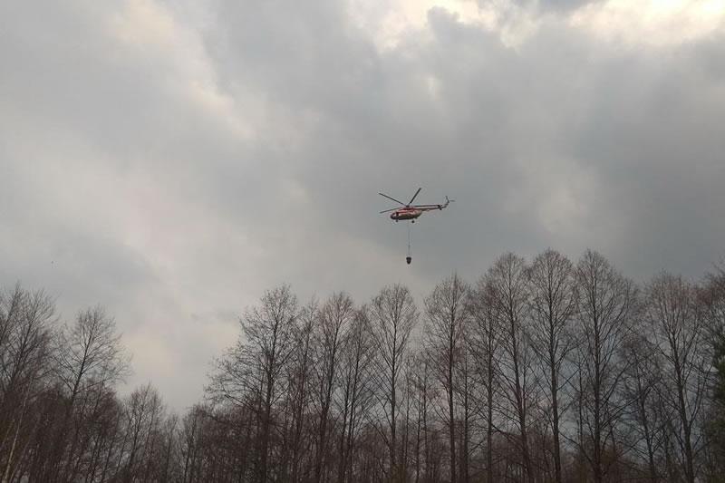 Пожар в Межреченском ландшафтном парке тушила авиация