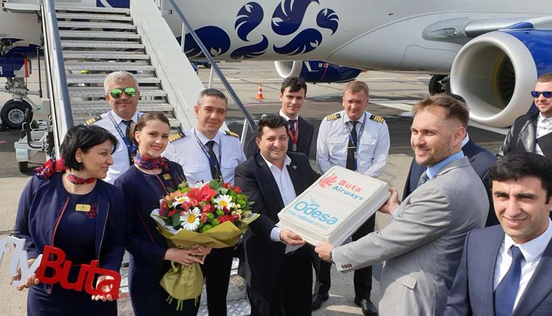 Одесский аэропорт встретил первый рейс из Баку азербайджанской авиакомпании Buta Airways