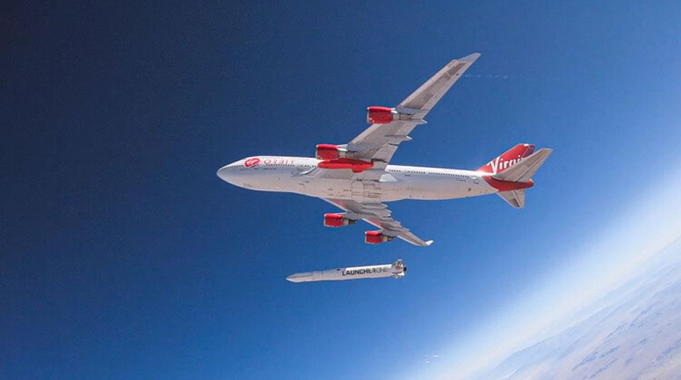Старт ракеты с модифицированного  самолета В-747-400