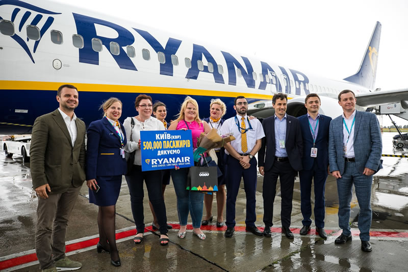 Ryanair перевезла 500000 пассажиров через Борисполь