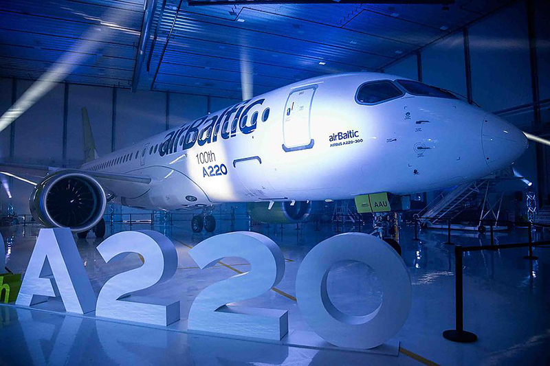 Компания Airbus выпустила 100-й A220 для своих заказчиков