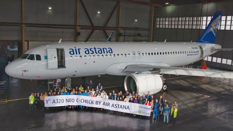Air Astana провела первый C-check самолета Airbus A320neo                                                                                        на своей технической базе в аэропорту Алматы